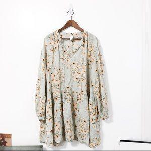 H&M Green Floral Print Long Sleeve Peasant Dress